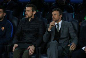 Barcelona coach Luis Enrique and assistant manager Juan Carlos Unzue.
