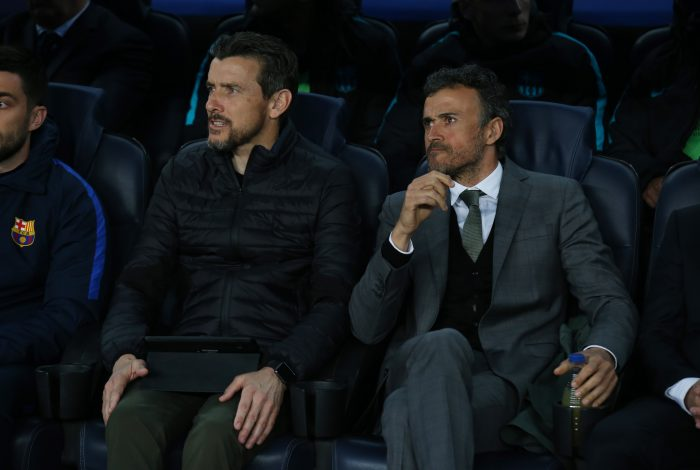 Barcelona coach Luis Enrique and assistant manager Juan Carlos Unzue.