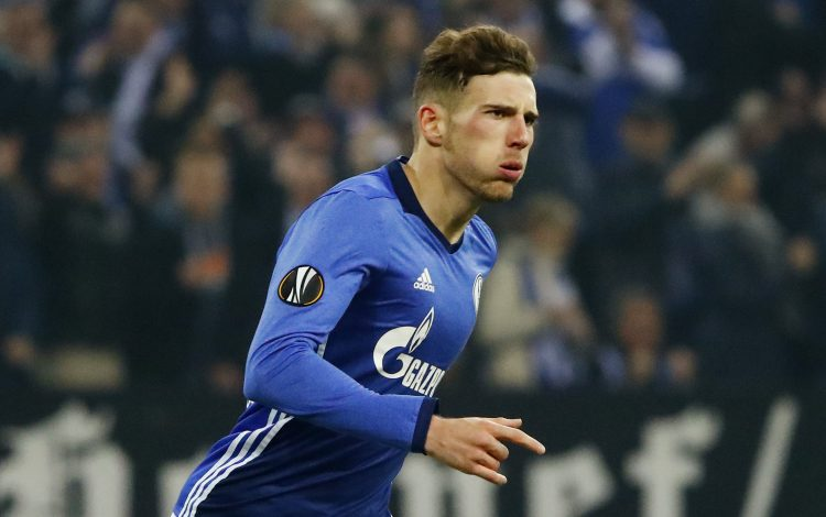 Schalke's Leon Goretzka celebrates scoring their first goal.