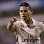 Real Madrid's James Rodriguez celebrates a goal.
