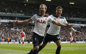 Tottenham's Harry Kane celebrates scoring their second goal with Dele Alli.