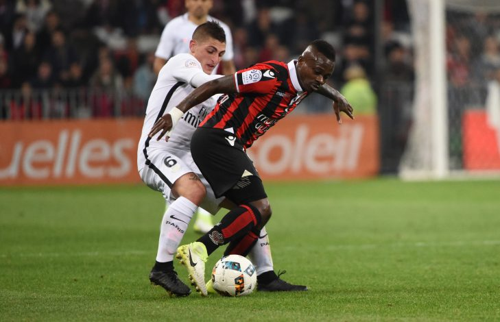 PSG's Marco Verratti in action with Nice's Jean Michael Seri.