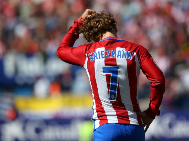 Atletico Madrid's Antoine Griezmann reacts during the match.