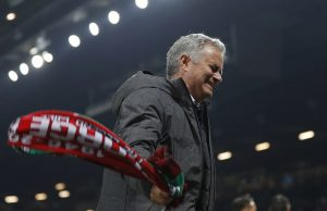 Manchester United manager Jose Mourinho celebrates after the match.