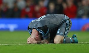 Celta Vigo's John Guidetti looks dejected after the match.