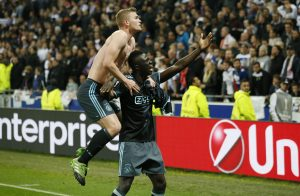 Ajax's Matthijs de Ligt and Davinson Sanchez celebrate after the match.