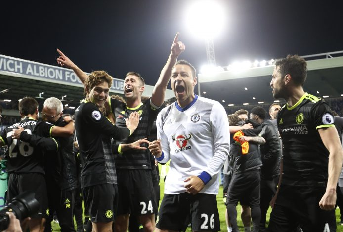 Chelsea's John Terry celebrates with teammates after winning the Premier League title.