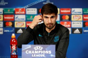 FC Barcelona's Andre Gomes attends a news conference.