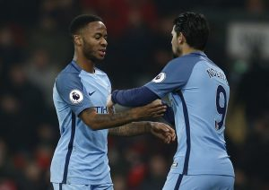 Manchester City's Nolito comes on as a substitute to replace Raheem Sterling.
