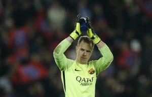 Barcelona's Marc-Andre ter Stegen applauds fans after the game.