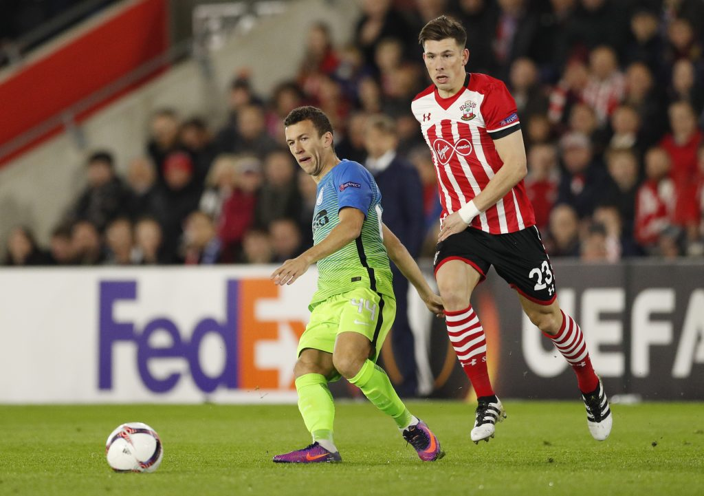 Inter Milan's Ivan Perisic in action with Southampton's Pierre-Emile Hojbjerg.