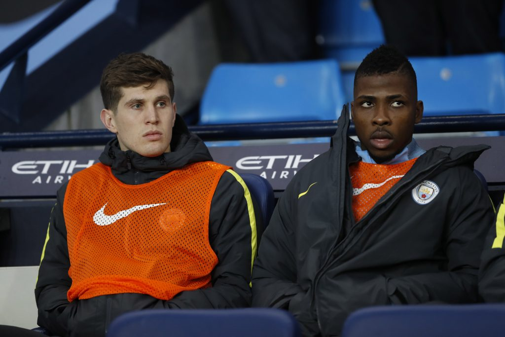 Manchester City's John Stones and Kelechi Iheanacho on the bench.