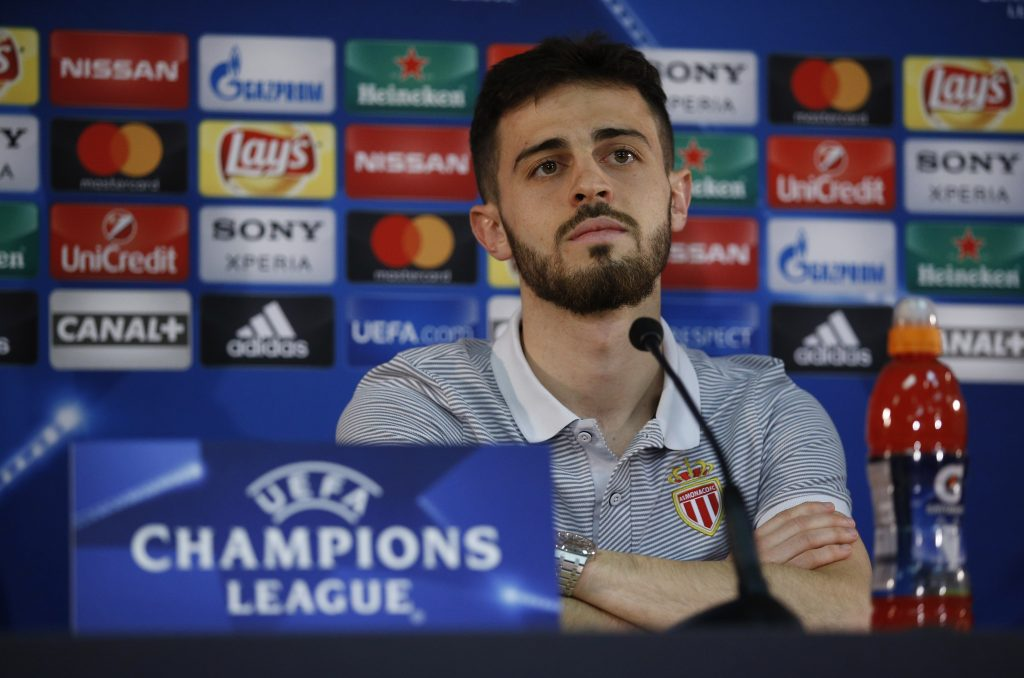 Monaco's Bernardo Silva during the press conference.