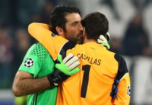 Juventus' Gianluigi Buffon and FC Porto's Iker Casillas after the match.