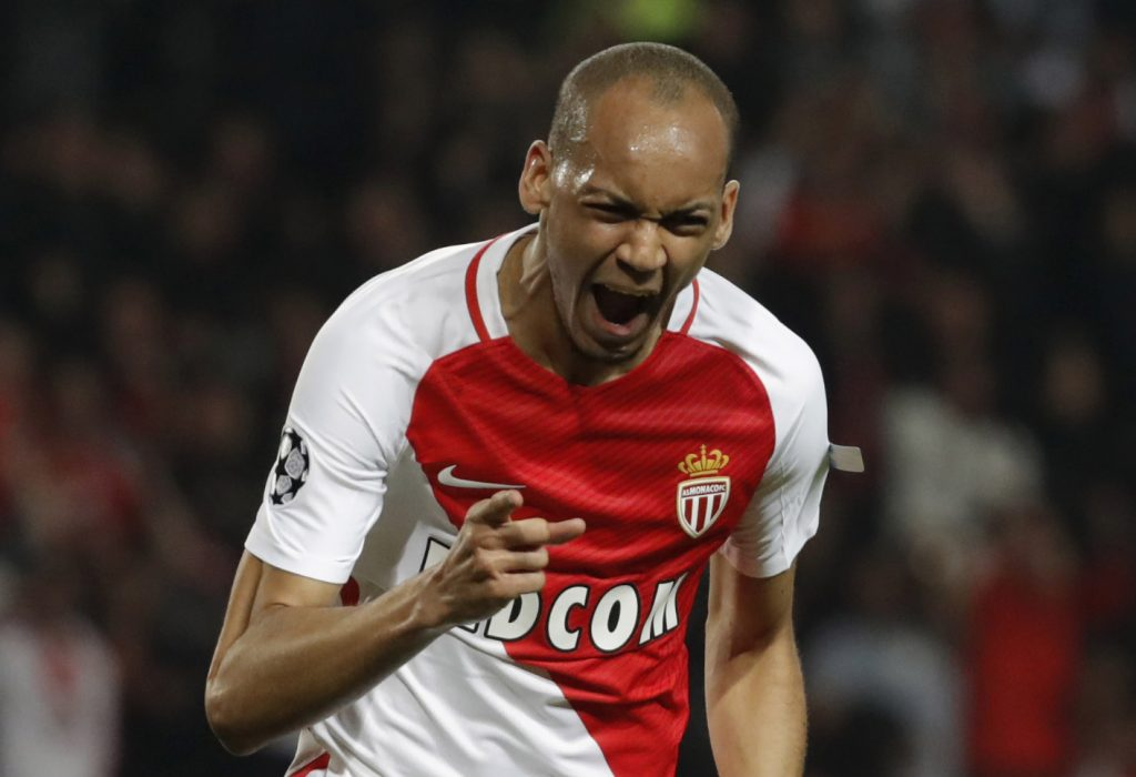 Monaco's Fabinho celebrates scoring their second goal.