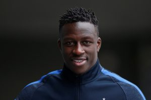 Benjamin Mendy arrives to attend a training session.