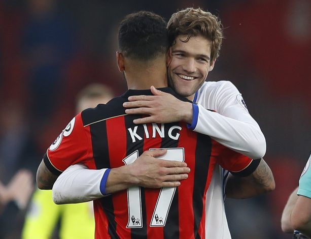 Chelsea's Marcos Alonso and Bournemouth's Joshua King after the game.