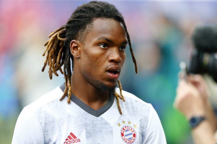 Bayern Munich's Renato Sanches warms up before the match.