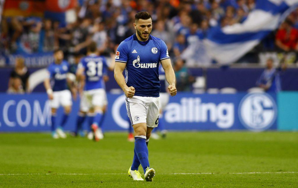 Schalke's Sead Kolasinac celebrates after Guido Burgstaller scored their first goal.
