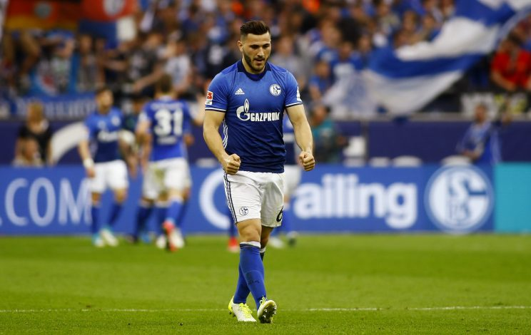 Schalke's Sead Kolasinac celebrates after Guido Burgstaller scored their first goal.