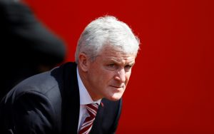 Stoke City manager Mark Hughes before the match.