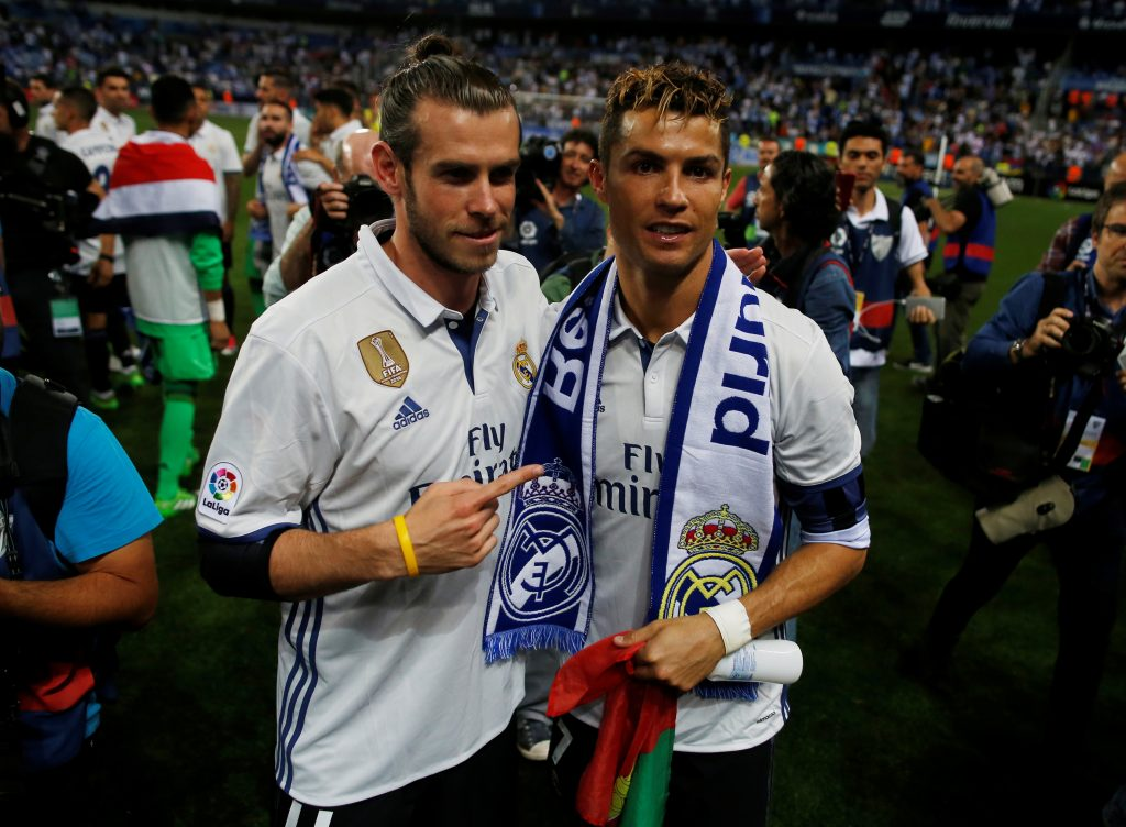 Real Madrid's Gareth Bale and Cristiano Ronaldo celebrate after winning La Liga.