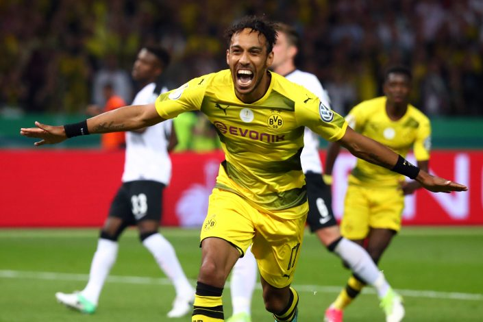 Borussia Dortmund's Pierre-Emerick Aubameyang celebrates scoring their second goal.