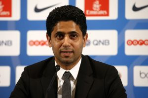 PSG's club president Nasser al-Khelaifi speaks during a news conference.