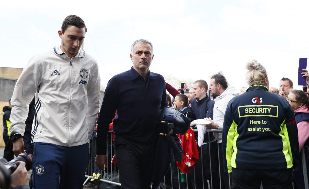 Jose Mourinho and Matteo Darmian arrive before the match.