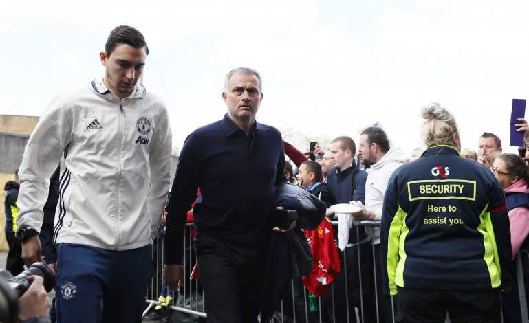 Jose Mourinho and Matteo Darmian arrive before the match.