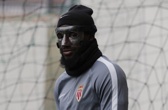 Monaco's Tiemoue Bakayoko arrives for training.