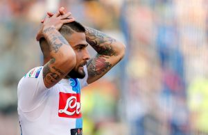 Napoli's Lorenzo Insigne reacts.