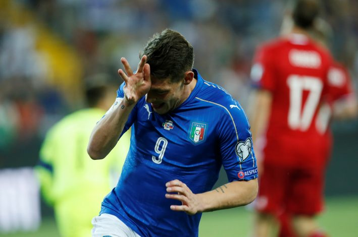 Italy's Andrea Belotti celebrates after scoring.