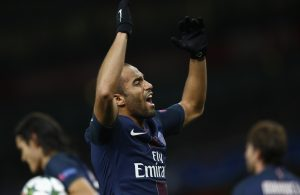 Paris Saint-Germain's Lucas Moura celebrates scoring their second goal.