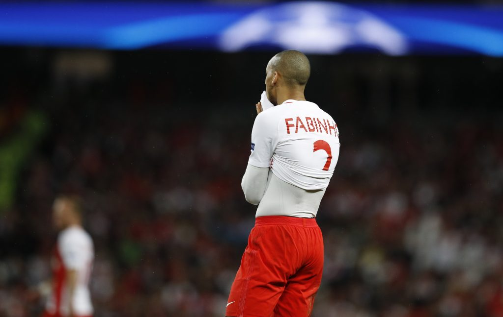 Monaco's Fabinho looks dejected.