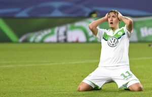 Wolfsburg's Max Kruse looks dejected.