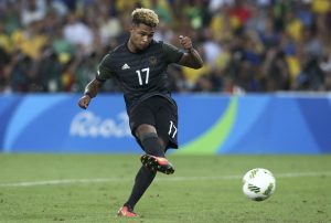 Serge Gnabry of Germany kicks the ball during penalty shootout.