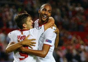 Sevilla's Steven N'Zonzi celebrates after scoring against Dinamo Zagreb.