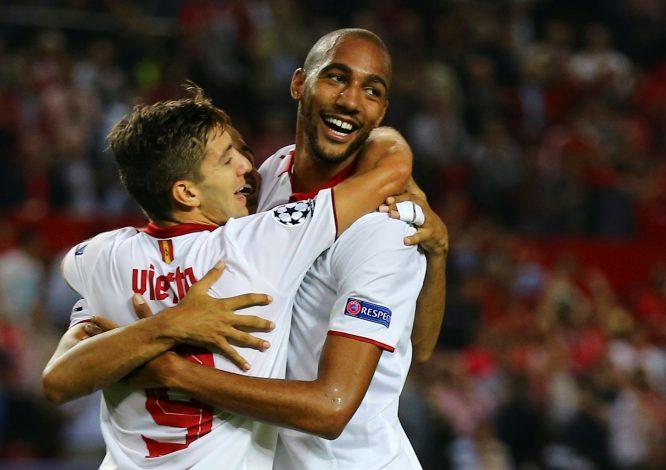 Sevilla's Steven N'Zonzi celebrates after scoring against Dinamo Zagreb.