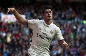 Real Madrid's Alvaro Morata celebrates after scoring a goal.