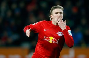 Leipzig's Emil Forsberg celebrates after he score a goal against Leverkusen.