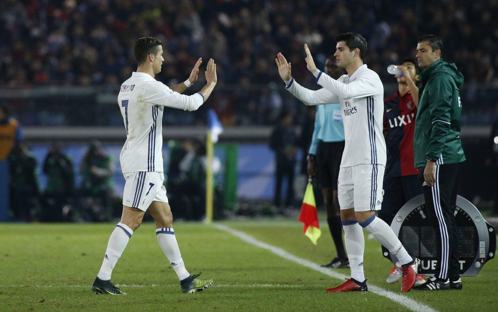 Alvaro Morata comes on as a substitute to replace Cristiano Ronaldo.