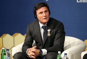 Inter Milan Vice President Javier Zanetti takes part in the 11th Dubai International Sports Conference in Dubai.