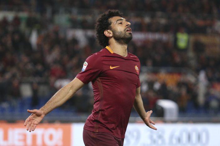 AS Roma's Mohamed Salah celebrates after scoring against Sassuolo.