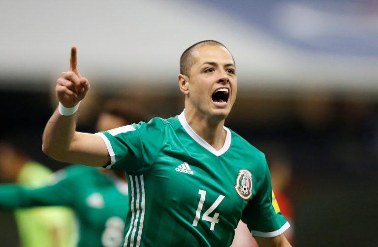 Mexico's player Javier Hernandez celebrates after scoring against Costa Rica.