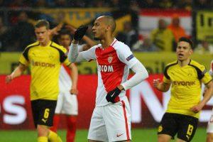 Monaco's Fabinho looks dejected after missing a penalty.