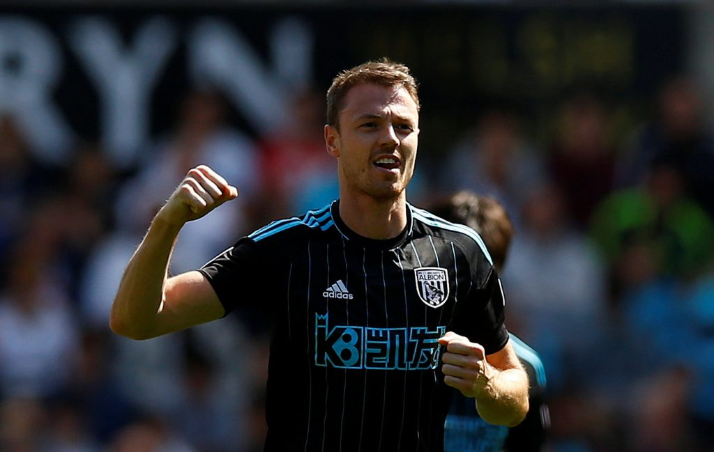 West Bromwich Albion's Jonny Evans celebrates scoring their first goal.