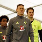 Chelsea's Nemanja Matic, Willian and Asmir Begovic arrive for training.