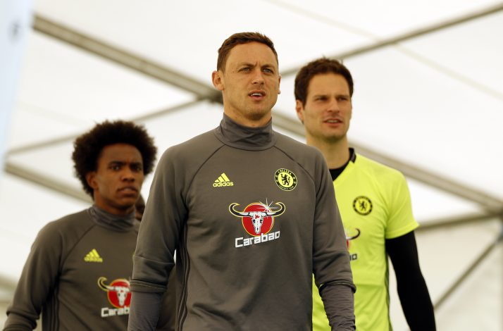 Chelsea's Nemanja Matic, Willian and Asmir Begovic arrive for training.