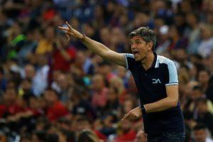 Deportivo Alaves coach Mauricio Pellegrino gestures.